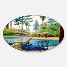 Triassic environment Sticker (Oval)