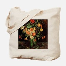 Vase with Zinnias and Geraniums Tote Bag