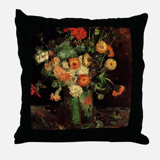 Vase with Zinnias and Geraniums Throw Pillow