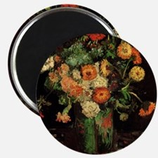 Vase with Zinnias and Geraniums Magnet