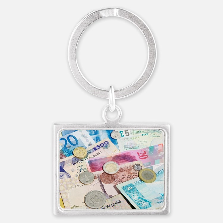 International currency Landscape Keychain