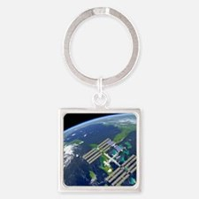 International Space Station Square Keychain