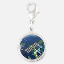 International Space Station Silver Round Charm