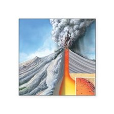 "Stratovolcano, internal str Square Sticker 3"" x 3"""