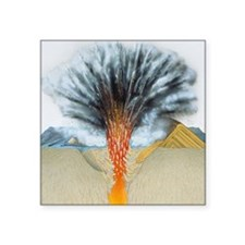 "Surtseyan volcanic eruption Square Sticker 3"" x 3"""