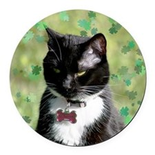 St. Patrick cat Round Car Magnet