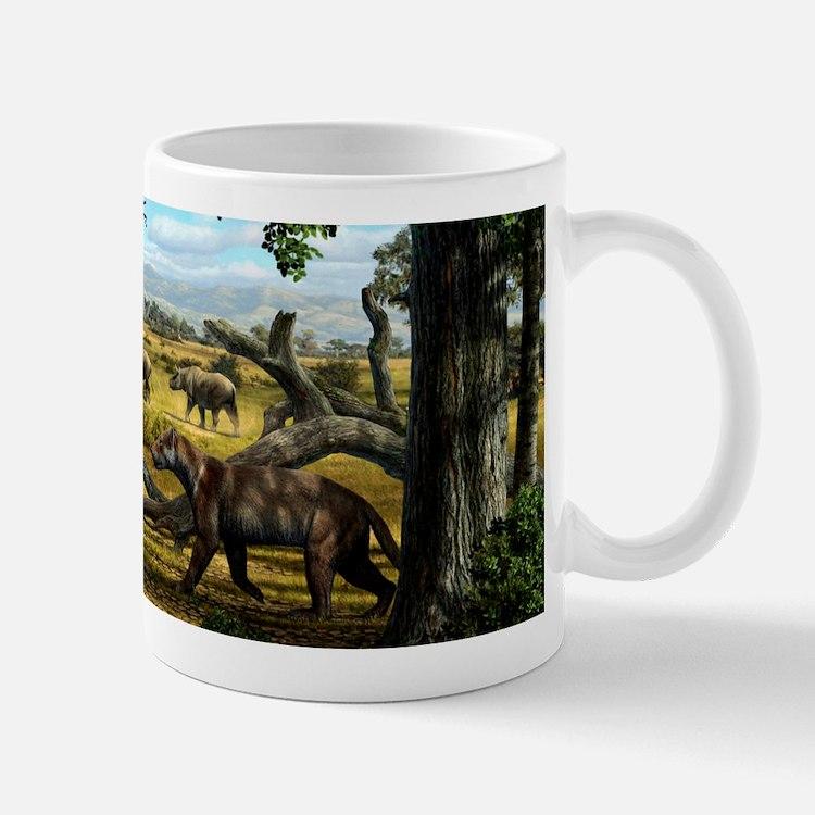 Wildlife of the Miocene era, artwork Mug