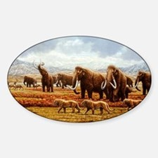 Woolly mammoths Sticker (Oval)