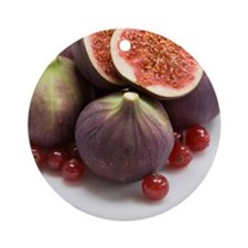 Whole and halved figs Round Ornament