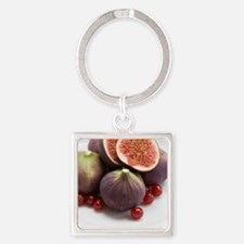 Whole and halved figs Square Keychain
