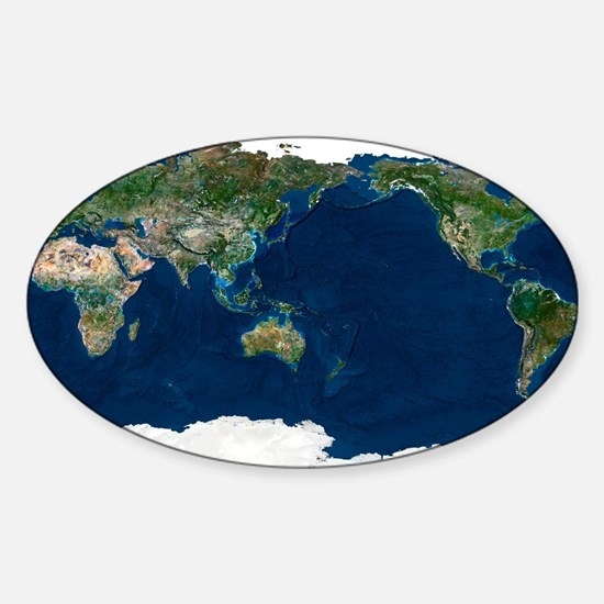 Whole Earth, satellite image Sticker (Oval)