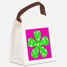 Pink  Green Floral Pizzazz Design Canvas Lunch Bag