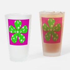 Pink  Green Floral Pizzazz Designer Drinking Glass
