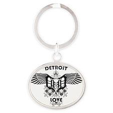 Detroit Love Wings Oval Keychain