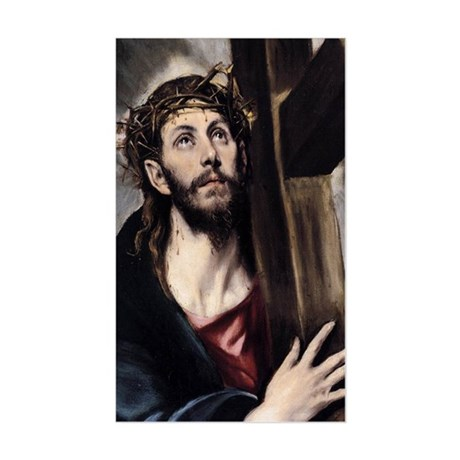Christ carrying the Cross Sticker (Rectangle)