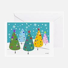 Whimsical Christmas Trees Greeting Card