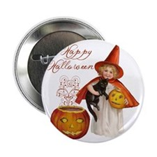 "Vintage Halloween witch 2.25"" Button"