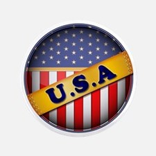 "round flag USA 3.5"" Button"