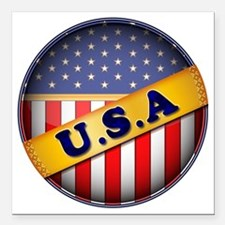 """round flag USA Square Car Magnet 3"""" x 3"""""""