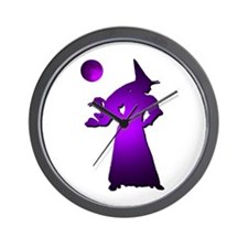 Purple Moon Witch Wall Clock