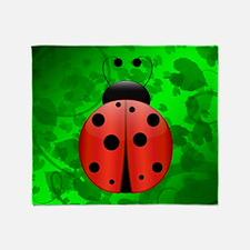 Single Ladybug Throw Blanket