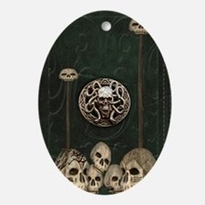 Green Book with Skulls Oval Ornament