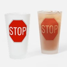 stop sign 10x10 Drinking Glass