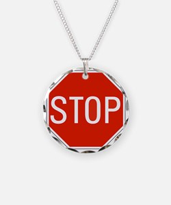 stop sign 10x10 Necklace