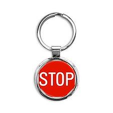 stop sign 10x10 Round Keychain
