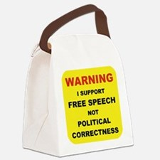 WARNING I SUPPORT FREE SPEECH... Canvas Lunch Bag
