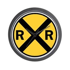 Rail Road Crossing Sign Wall Clock