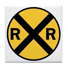 Rail Road Crossing Sign Tile Coaster