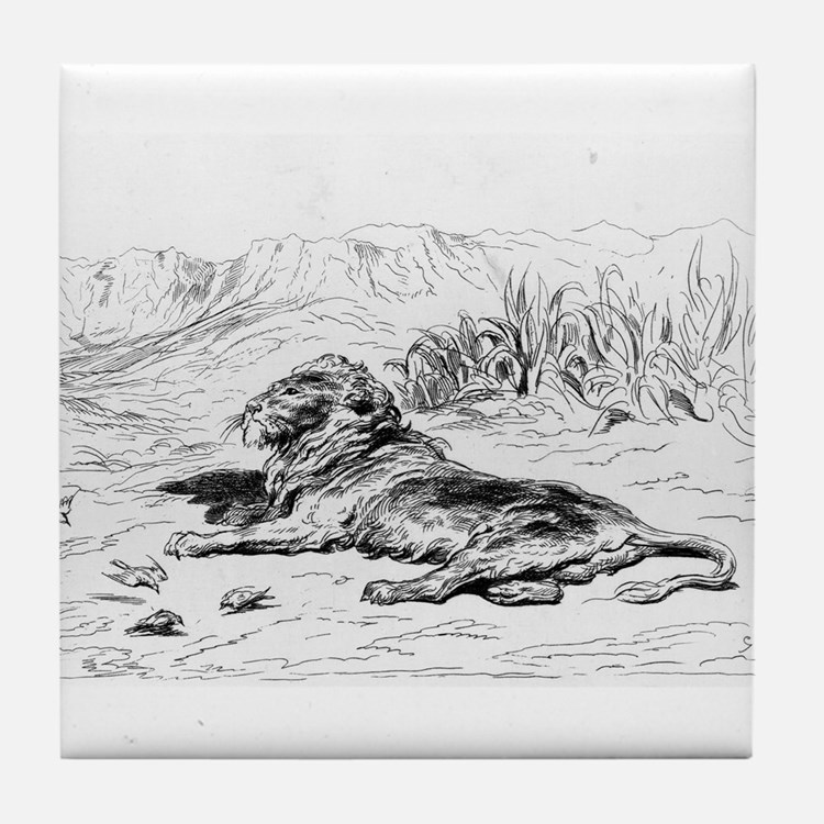 Lion - Gustave Dore - c1860 Tile Coaster