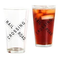 Rail Road Crossbucks Sign Drinking Glass