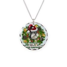 Merry Christmas Min Schnauze Necklace Circle Charm