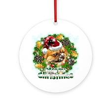 Merry Christmas Pekingnese Round Ornament