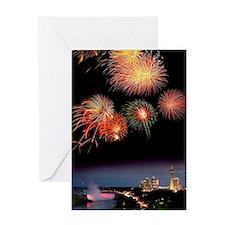Fireworks display over Niagara Falls Greeting Card