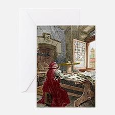 Galileo using a telescope Greeting Card