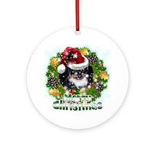 Merry Christmas Pekingnese Black Round Ornament