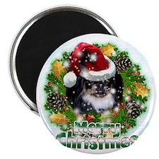 Merry Christmas Pekingnese Black Magnet