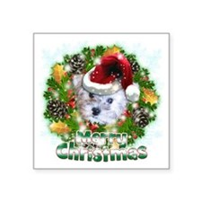 "Merry Christmas Schnoodle Square Sticker 3"" x 3"""
