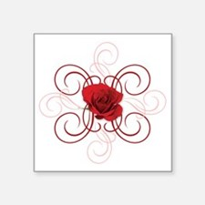 "engaged7 redrose Square Sticker 3"" x 3"""