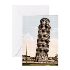 Vintage Leaning Tower Of Pisa Greeting Card