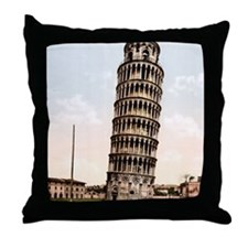 Vintage Leaning Tower Of Pisa Throw Pillow