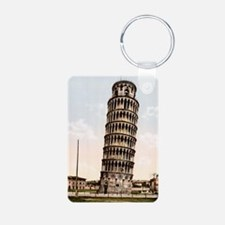 Vintage Leaning Tower Of P Aluminum Photo Keychain