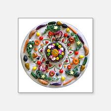 "Veg and Fruit Mandala Square Sticker 3"" x 3"""