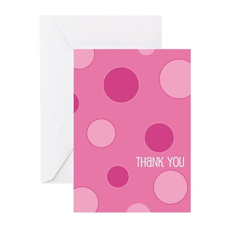 Pink Dotted Thank You Greeting Cards (Pk of 10)