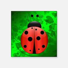 """Large Single Ladybug Square Sticker 3"""" x 3"""""""