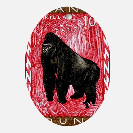 1959 Rwanda Mountiain Gorilla Stamp Oval Ornament