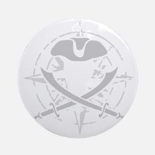 compass rose eroded skull pirate fl Round Ornament
